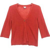 J Jill Linen Blend Open Knit Cardigan Womens M Orange 3/4 Sleeve Single Button V