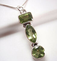 Faceted Peridot Baguette Marquise 3-Gem 925 Sterling Silver Pendant