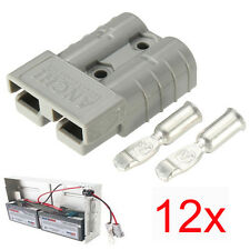 12PCS  ANDERSON PLUG CONNECTOR QTY 50 AMP GREY BRAND NEW 6AWG TERMINALS
