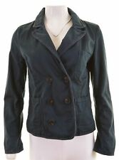 JACK WILLS Womens Double Breasted Blazer Jacket UK 10 Small Blue Cotton  HR26
