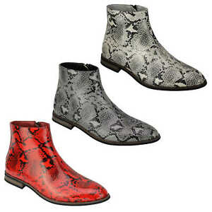 Mens Faux Leather Shiny Snake skin Print Ankle Boots Zip on Chelsea Dealer Shoes