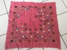 Echarpe  EPICE carré laine rose broderies fleurs ❤️