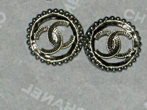 CHANEL  AUTH. 2   BRASS  bronze GRAY  PEARL BUTTONS  CC LOGO 10  MM  NEW LOT 2