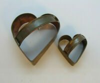 2 Vintage Hand Crafted Large & Small Handled Heart Copper Cookie/Biscuit Cutter
