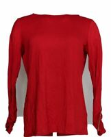Dennis Basso Women's Top Sz S Ruched Sleeve Soft Touch w/ Microchain Red A345017