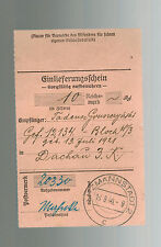 1940 Litzmannstadt Germany Dachau Concentration Camp money order Receipt KZ