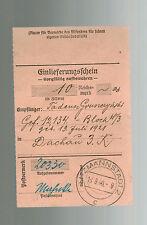 1940 Litzmannstadt Germany Dachau Concentration Camp money order Receipt KZ