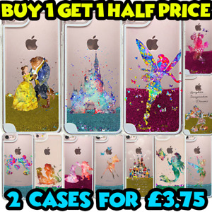 Watercolour Art Princess Liquid Glitter Stars Bling Hard Case Cover for iPhones