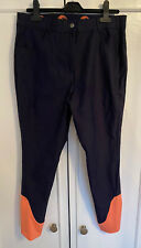"Equestrian Ladies Navy Breeches 30"" Strech Orange Leg Size 12/14"