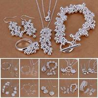Chic 925 Sterling Silver Plated Chain Bracelet Earring Necklace Jewelry Set YA