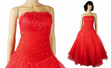 Red Strapless Prom Gown Sz XS 2 Long Chiffon Lace Sequin Stunning Pageant Dress