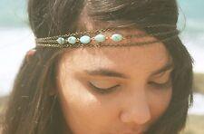 Accessoire mariage,bijou de cheveux, headband 3 chaines cuivrées pierres bleues