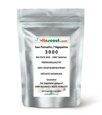1000 Tabletten Saw Palmetto Extrakt - Sägepalme 3000 - No Kapseln - VITASCOUT®