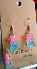Pink and Baby Blue Glitter Gummy Bear Earrings