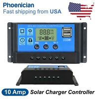 10A 12/24V Dual USB Solar Panel Battery Charge Controller LCD Regulator Auto US