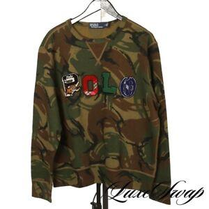 NWT $188 #1 MENSWEAR Polo Ralph Lauren Army Camouflage Tiger Varsity Crewneck S
