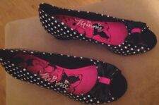 Disney's Minnie Mouse Adult/Women's Polkadots Wedge Heel Shoes With Bow Size 4.5