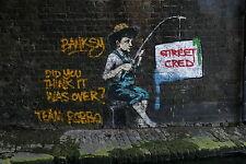 """BANKSY robbo fishing UK street art poster print for glass frame 36"""" painting"""