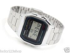 A158WA-1D CASIO DIGITAL SILBER VINTAGE RETRO STAINLESS STAHL BAND UHR A-158WA