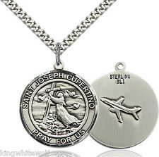 "Bliss Mfg St Joseph of Cupertino w/Airplane Sterling Medal Necklace w/24"" Chain"