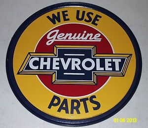 "We Use Genuine CHEVROLET Bowtie Parts 12"" Tin Sign Chevelle Nova Camaro Chevy"