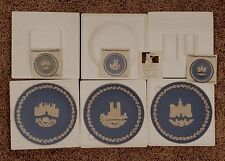 Lot of 3 Wedgewood Blue Jasper Christmas Plates, 1976-78, See Description