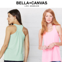 BELLA LADIES FLOWY RACERBACK TANK TOP VEST STRAPS DRAPEY LOOSE FIT COLOURS S-XL