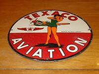 "VINTAGE TEXACO AVIATION PINUP GIRL AIRPLANE 11 3/4"" PORCELAIN METAL GAS OIL SIGN"