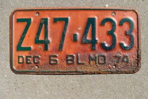 1974 Original Vintage Missouri License Plate Ratrod car Mancave Art Deco Old Bar