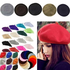 Sex Women Wool French Beret Hat Chic Plain Beanie Winter Autumn Warm Fashion Hat