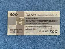 500 MARK FORUM SCHECK DDR AUS 1979 SACHWERT ORIGINAL UND ECHT BANKFRISCH UNC