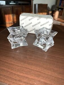 Michael C Fina Fifth Avenue 24% Lead Crystal Star Set Of 2 Candle Holders w/ BOX