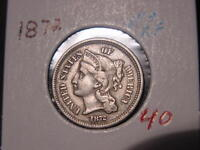 1872 NICKEL THREE CENT PIECE VF + XF NICE ATTRACTIVE COMBINED SHIPPING