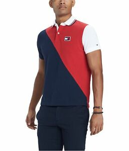 Tommy Hilfiger Mens Diagonal Color Block Rugby Polo Shirt, Red, XX-Large