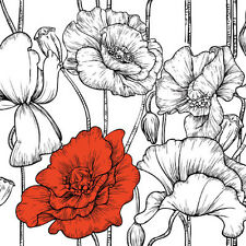 20 Lunch Paper Napkins POPPY ACCENT Decoration DECOUPAGE Red Flower Sketch