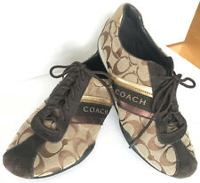 """New listing COACH """"JAYME"""" Womens Signature Brown & Tan Khaki Athletic Sneakers Shoes,Size7.5"""