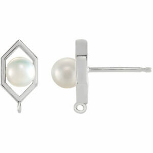 Freshwater Cultured Pearl Geometric Earring Top In Platinum