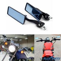 1 Pair Rectangle Rear View Mirror Side Mirrors 10mm For Harley Touring Chopper
