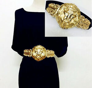 2021 New Lady Gold Lion Queen Buckle Elastic Stretch Dress Belt Womens Xmas Gift