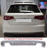 Für Audi A3 8V 12-15 S3 S-line Look Wabengrill Stoßstange Diffusor Grill Auspuff