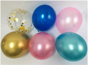 Gender Reveal Balloons Pink Blue - Metallic Chrome Gold Confetti Decorations for