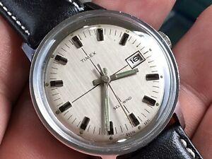 Vintage 1971 Timex Viscount Auto Mechanic Men's Watch Serviced New Crown/ Strap