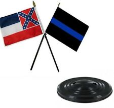 """State of Mississippi Police Thin Blue Line Flags 4""""x6"""" Desk Set Table Black Base"""
