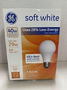 GE Soft White 29W/40W Pack of 4 Bulbs A19 #66246