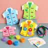 LT_ AM_ 4PCS WOODEN SEW-ON BUTTONS THREADING LACING CLOTHES BOARD KIDS EDUCATI