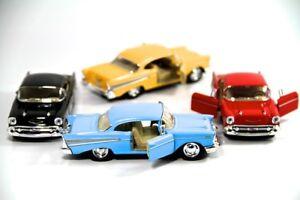 "Set of 4:  New 5"" 1957 Chevrolet Bel Air Diecast Model Toy 1:40 Kinsmart Chevy"