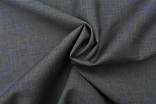 PURE WOOL MID GREY BLUE NEEDLE STRIPE DELUXE TAILORING FABRIC MADE IN ITALY E92