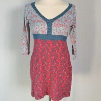 White Stuff Women's Dress Tunic Blue Red Size 10 Cotton Linen Mix Floral VGC