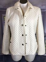 Chaps XL Sleeveless Snap Up Jacket Quilted CreamY White