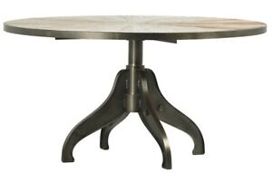 """59"""" Dia. Guarino Dining Table Industrial Metal Base Round Wooden Top"""